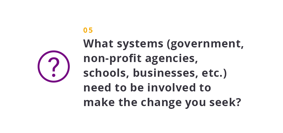 What systems (government, non-profit agencies, schools, businesses, etc.) need to be involved to make the change you seek?