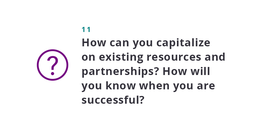 How can you capitalize on existing resources and partnerships? How will you know when you are successful?